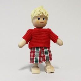 Junge, Shirt-rot, Haare blond