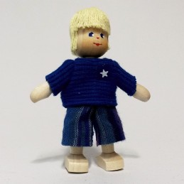 Junge, Shirt-blau, Haare blond