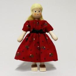 Mutter, Kleid-rot, Haare blond